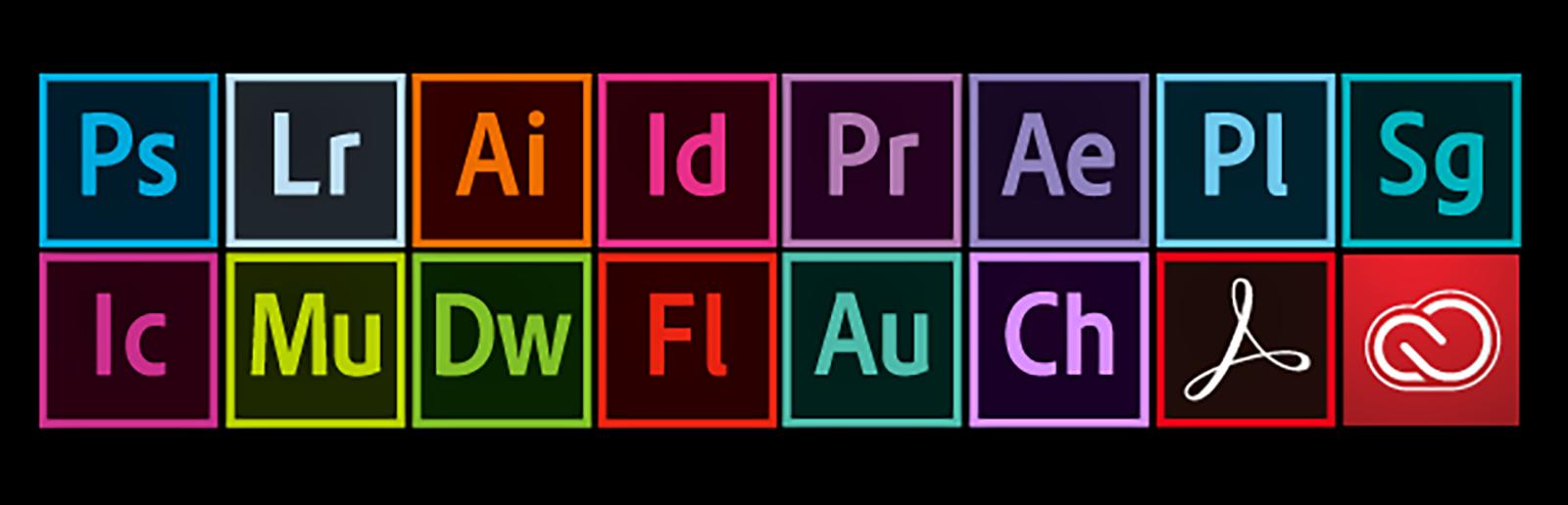 Adobe CCのツールのロゴ一覧