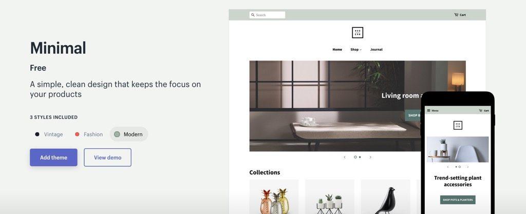 Shopifyテンプレート「Minimal」
