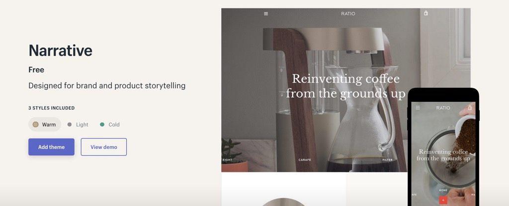 Shopifyテンプレート「Narrative」
