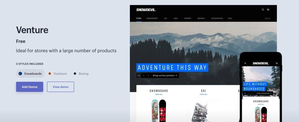 Shopifyテンプレート「Venture」