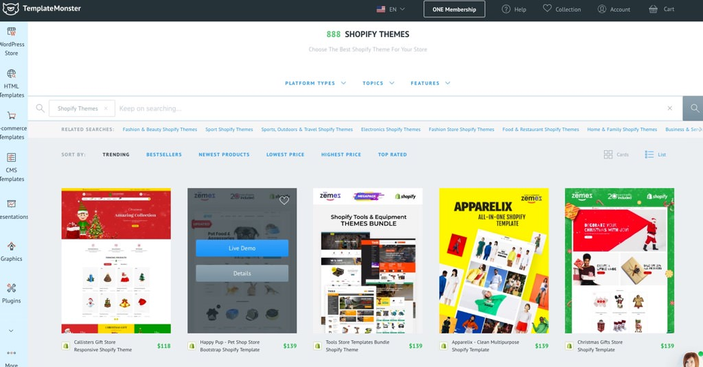 Shopifyのテンプレート販売サイト「Template Monster」