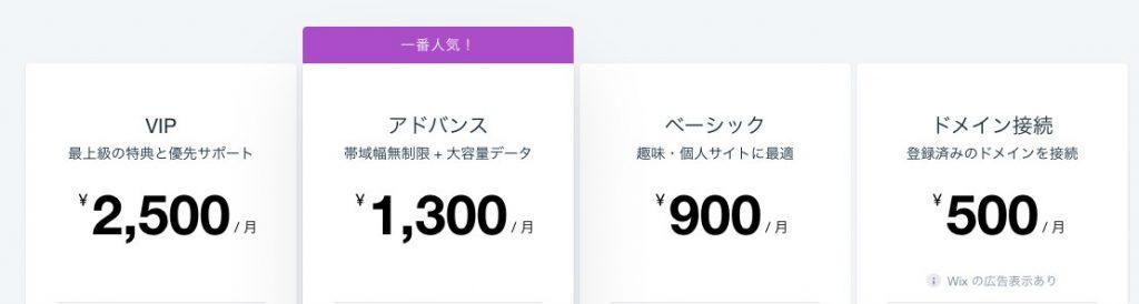 Wixの料金
